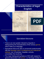 Advanced English Characteristics of Legal English 2009-2010