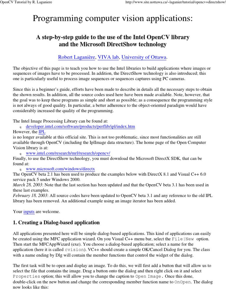 TutorialOpenCVandDirectShow | Component Object Model | Software