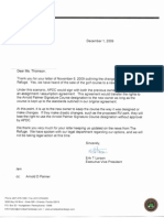 Letter From Arnold Palmer Design Co 12/09