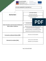 Datas de admisión e matrícula para o curso  2021-2022