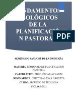 Fundametación Teológica de La Planificación Pastoral