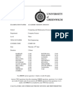 Web Engineering Exam June 2010 - UK University BSc Final Year