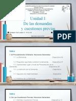 UNIDAD I - DE LAS DEMANDAS Y CUESTIONES PREVIAS