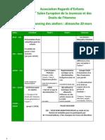 Planning et description des ateliers du Salon