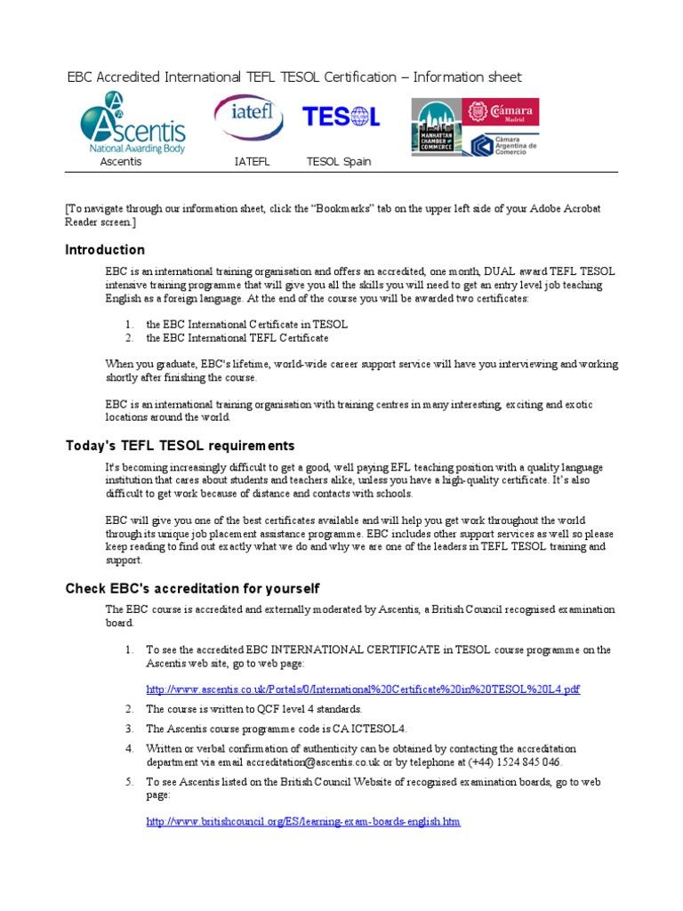 EBCInformationSheet | Teaching English As A Foreign Language