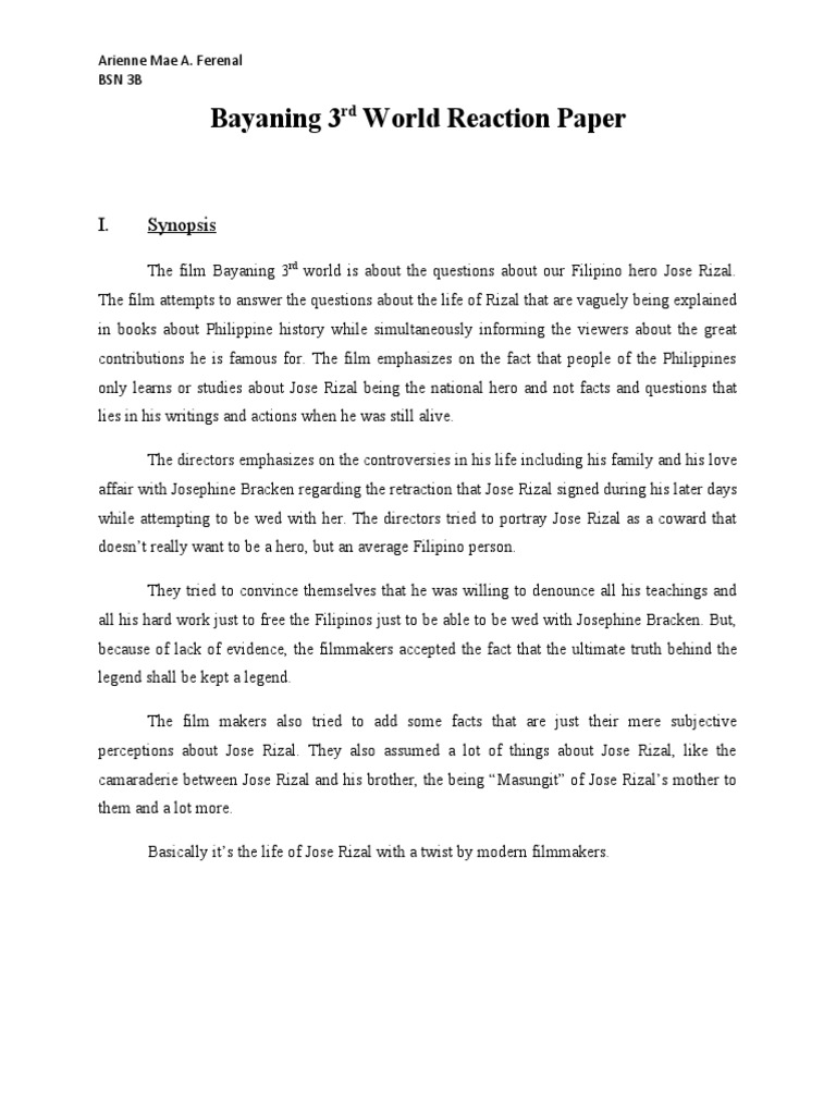 reaction paper about rizal's life Rizal life (the paternal great-great-grandfather of jose rizal) which the spanish term mercado means 'market' in english rizal reaction paper on rizal's life works and writing for wwwpapercampcom/group/reaction-paper-on-rizal's.