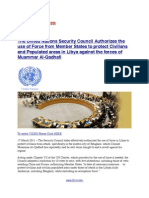 UN Security Council Authorizes Use of Force to Protect Civilians and Populated Areas in Libya