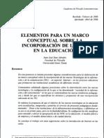 Elementos Para Un Marco Conceptual sobre la incorporación de las TIC en la Educación
