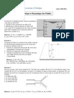 TD 2 - Statique et dynamique des Fluides