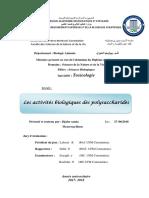 Les activités biologiques des polysaccharides