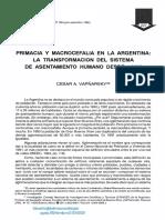 Vapñarsky Primacia y Macrocefalia en La Argentina La Transformación Del Sistema de Asentamiento Humano Desde 1950 (1)