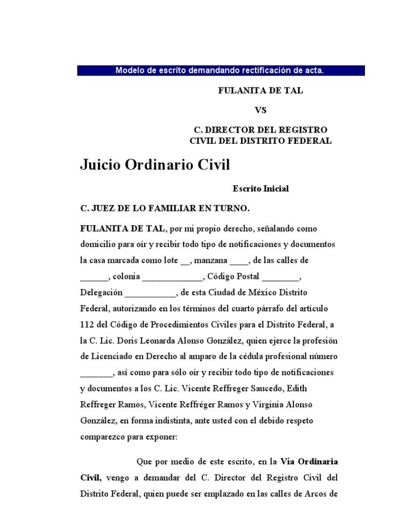 Demanda de correccion de actas for Acta familiar
