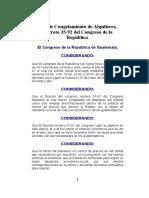 Ley de Congelamiento de Alquileres, Decreto 35-92 del Congreso de la República.