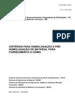Cemig - 02.111 TD-At 2003 Jul 2009 - Critérios Para Homologação de Material Para Fornec. a Cemig