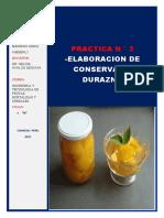 PRACTICA N°3 ELABORACION DE CONSERVA DE DURAZNO