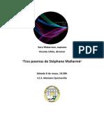 Programa de concierto Tres poemas de S. Mallarmé