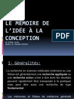 le mémoire de l'idée à la conception