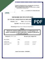 Etude Des Activités Antibactériennes Et Antifongiques Des Huiles Essentielle de Salvia Officinalis , Juniperus Phoenicea Et Et Mentha Puleguim