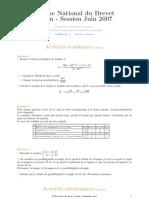 Maths DNB Liban 2007