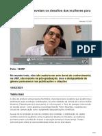 jornal.usp.br-Pesquisadoras revelam os desafios das mulheres para fazer ciência