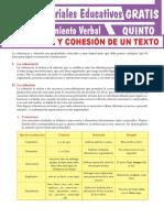 Coherencia y Cohesión de Un Texto Para Quinto Grado de Secundaria