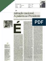 Salvacao Nacional. A palavra ao Presidente. - artigo jornal i, 18-mar-2011