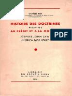 Charles Rist - Histoire Des Doctrines Relatives Au Credit Et a La Monnaie Depuis John Law Jusqu'a Nos Jours