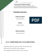 ACT. APRENDIZAJE-ANÁLISIS FODA