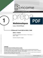Ecricome ecs maths 2020