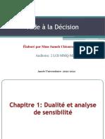 Chapitre 1 Simplexe, Dualité Et Analyse de Sensibilité