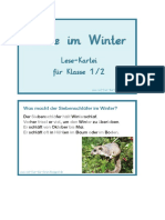Tiere im Winter-Kartei Klasse 1