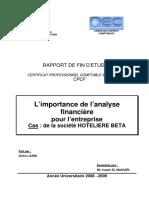 221110603 L Importance de l Analyse Financiere Pour l Entreprise Cas de La Societe HOTELIERE BETA