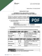 Circular Dp Nº 20-21 Incremento Para Jubilaciones y Pensiones Regimen Docente Universitario - Mensual Junio-2021