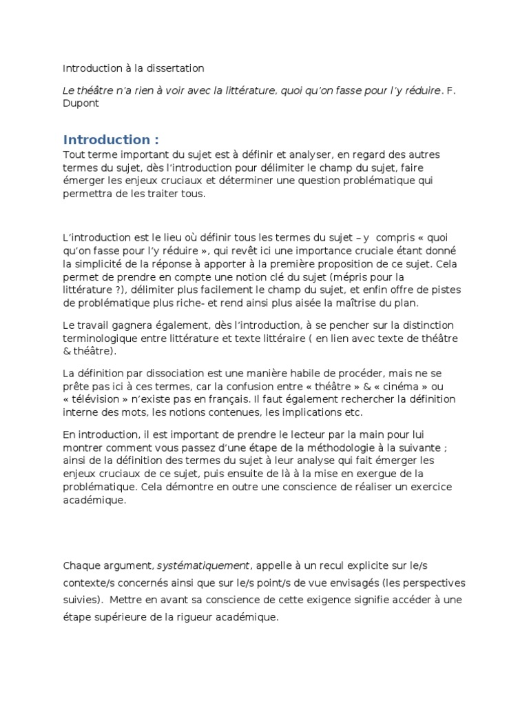 dissertation theatre introduction