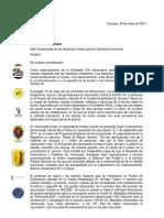Carta a Alta Comisionada de Derechos Humanos
