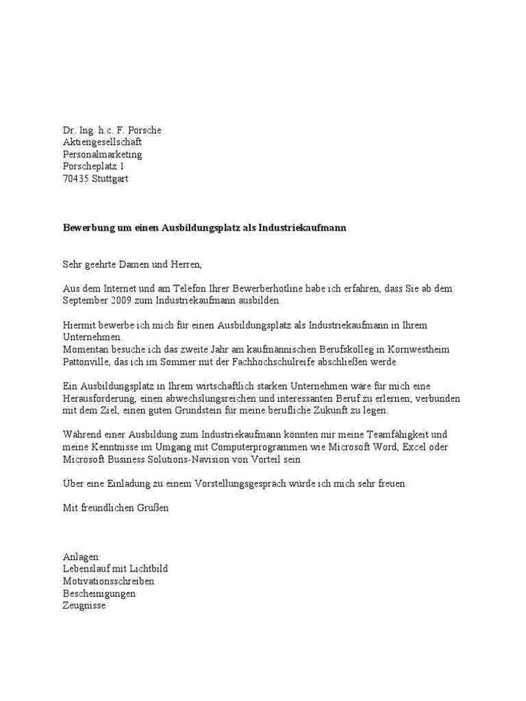 porsche anschreiben - Porsche Bewerbung