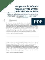 Notas para pensar la infancia en la Argentina