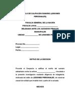 Calificación Sumario - Lesiones Personales Dolosas