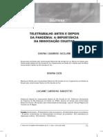 Teletrabalho antes e depois da pandemia a importância da negociação coletiva - Luciane Barzotto