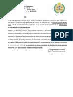 Comunicado UTA INTERIOR - Estado de Alerta