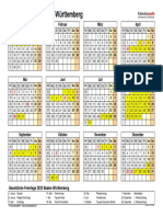 Kalender 2023 Baden Wuerttemberg Querformat Jahresuebersicht