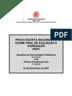 EXAME DE DEONTOLOGIA PROFISSIONAL E PROCESSO CIVIL DE 24 DE NOVEMBRO DE 2007