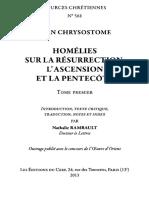 JEAN CHRYSOSTOME Homelies Sur La Resurrection l'Ascension Et La Pentecote (SC 561 )