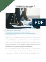 La définition de l'Indivision dans le domaine juridique