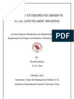 Research Project- Scope Of Entrepreneurship in Pune & Nearby Regions
