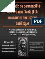 Diagnostic de perméabilité du Foramen Oval (FO) en scanner multicoupe cardiaque