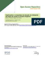 Implicações e conquistas da atuação do TILSP no Ensino Superior