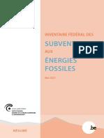 Inventaire fédéral des subventions aux énergies fossiles (résumé - 2021)