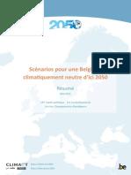 Scénarios pour une Belgique climatiquement neutre d'ici 2050 (résumé - 2021)