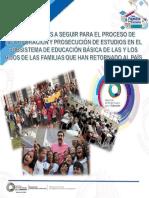 Orientaciones para el proceso de incorporacion al sistema educativo de las y los